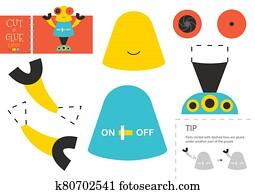 schneiden, und, klebstoff, papier, toy., vektor, illustration,, arbeitsblatt, mit, karikatur, roboter
