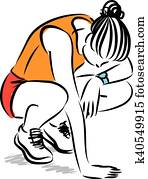 tired fitness woman illustration