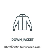 64aa9abe772 Down jacket line icon, vector. Down jacket outline sign, concept symbol,  flat