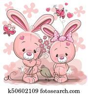 zwei, kaninchen