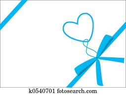Blue ribbon & heart