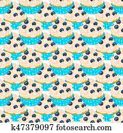 Blueberry cupcake seamless pattern