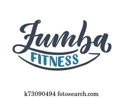 Abstract lettering about zumba fitness for logotype or print design. Healthy lifestyle. Modern calligraphy for business sport concept. Handwritten letters. Typography funny logo. Vector