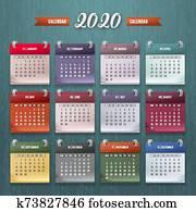 kalender, schablone, 2020