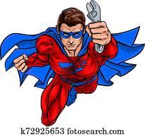 klempner, monteure, superhero, abhalten schraubenschlüssel, schraubenschlüssel
