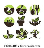 Vector plant and tree sprout vector icons set for gardening or planting