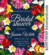 Wedding or bridal shower invitation floral card