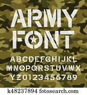 Army alphabet font. Endless camo background.