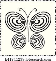 Fingerabdruck Hand Gezeichnet Schmetterling Clipart K41741292