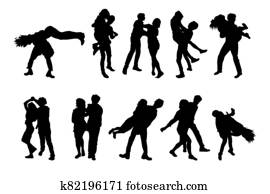 Set of dancing couples silhouettes isolated on white background.