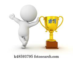 3D Character waving and leaning on golden trophy with number one written on it