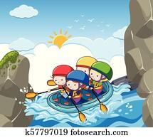 A Children Rafting in River
