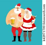 Bad Santa and Mrs. Claus isolated. drunk Christmas family. Woman in red dress and white apron. Cheerful elderly. New Year menage. Mug Beer and cigarette