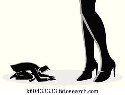 Businessman Prostrated Under Female High Heels