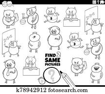 find two same pig characters color book page