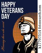 Happy Veterans Day Serviceman Greeting Card