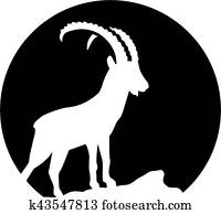 Ibex silhouette in fron of the moon