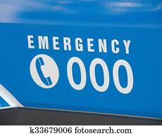 notfall, zahl, 000, auf, ein, krankenwagen