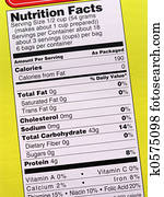 Nutrition label on yellow