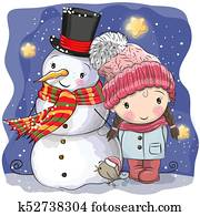Snowman and Cute Cartoon girl