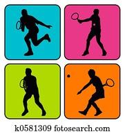 4 tennis silhouettes