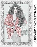 donna moda con cornice