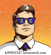 Man with sunglasses dollar sign. Vector illustration in retro pop art style. Business success concept