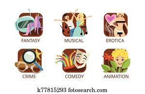 Cinema Genres Set, Crime, Fantasy, Musical, Erotica, Crime, Comedy, Animation, Cinematography, Movie Production Sign Vector Illustration