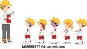 Stickman Kids Fire Camp Fireman Line Illustration