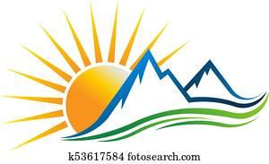 Sun Mountains Logo Vector illustration