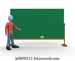 Teacher in front of a blackboard.