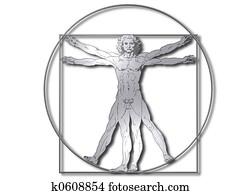 Vitruvian man silver