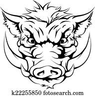 wild schwein, maskottchen, gesicht