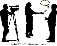 Journalist interview and cameraman silhouette