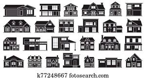 landhaus, von, haus, vektor, schwarz, satz, icon., vektor, abbildung, geb?ude, von, home., freigestellt, schwarz, satz, symbol, landhaus, von, haus, wei?, hintergrund, .