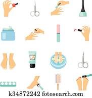 Manicure And Pedicure Flat Icons Set