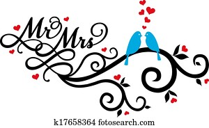 Mr and Mrs wedding birds, vector