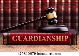 Gavel And Striking Block Over Guardianship Law Book