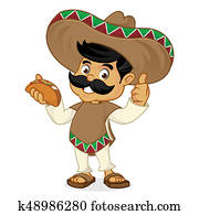Mexican man cartoon eating taco