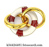 The concept of preservation of the family, wedding rings and a life buoy isolated on white background. Design family counseling services. 3d illustration. The concept of preservation of the family, wedding rings and a life buoy isolated on white backgroun