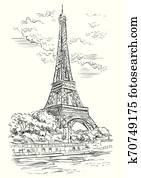 vektor, hand, zeichnung, paris, 1