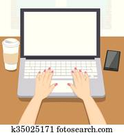 Woman Hands Writing Laptop