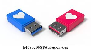 3d illustration of simple usb stick.