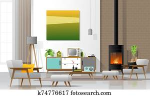 Living room interior background with fireplace and furniture in modern retro style 1