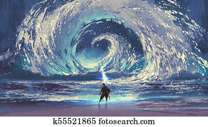 man with magic spear makes a swirling sea