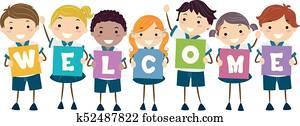 Stickman Kids Uniform Board Welcome Illustration