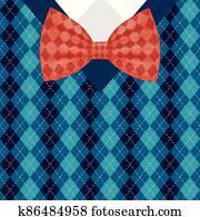 Male bowtie on pullover vector design