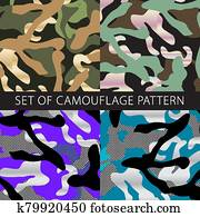 vector colorful patterns for all seasons. Set of camouflage Vector EPS SEAMLESS KHAKI. military background for army design