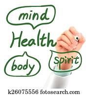 doctor writing health word