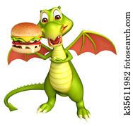 fun Dragon cartoon character with burger